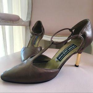 Vintage Stuart Weitzman Gold Accent Heels
